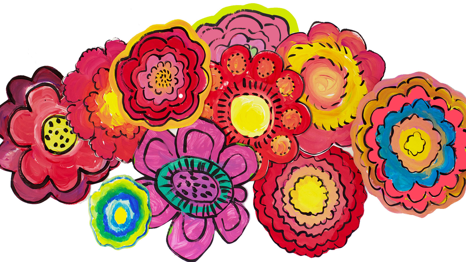 Big Bold Painted Flowers by Draw Paint Sparkle Students